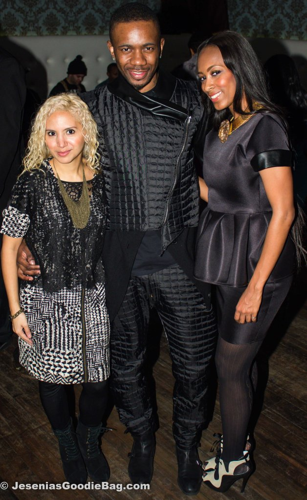Jesenia (JGB Editor), Rashard (Designer of Dramatik Fanatic) with model (wearing his designs)