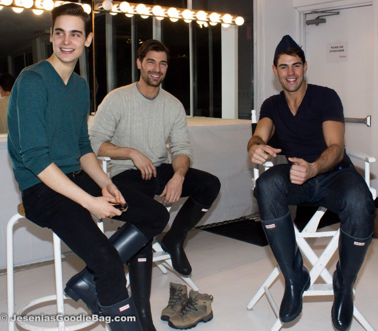 Backstage with models Mitch Baker, Guy 1, Chad White.