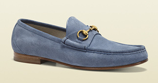 GUCCI: 1953 Horsebit Loafer (Suede) (Sky Blue)