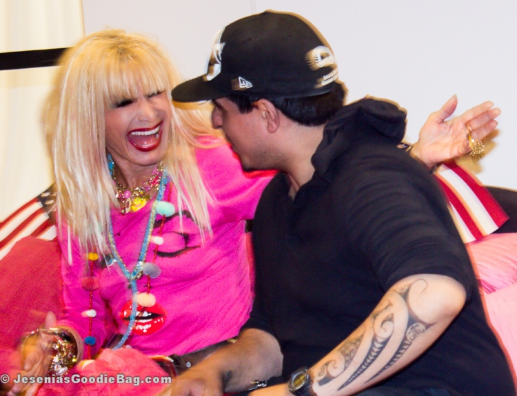 Betsey Johnson with fan