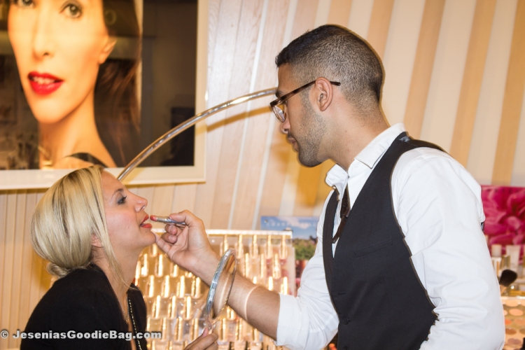 Jesenia (JGB Editor) with Eddie Hernandez (Chantecaille) (Applying Sardinia Lip Tint)