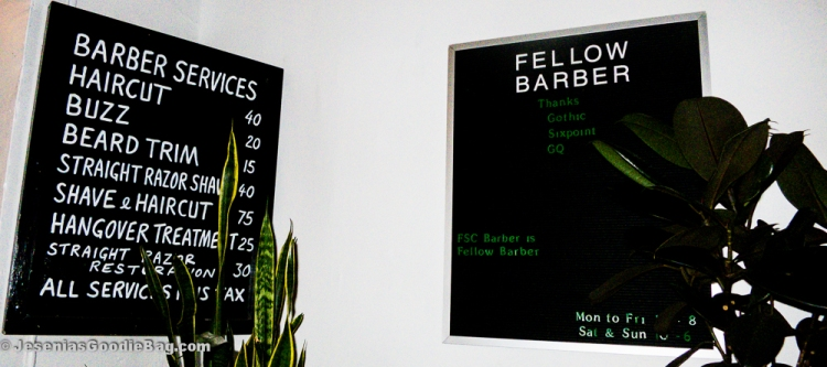 Fellow Barber menu