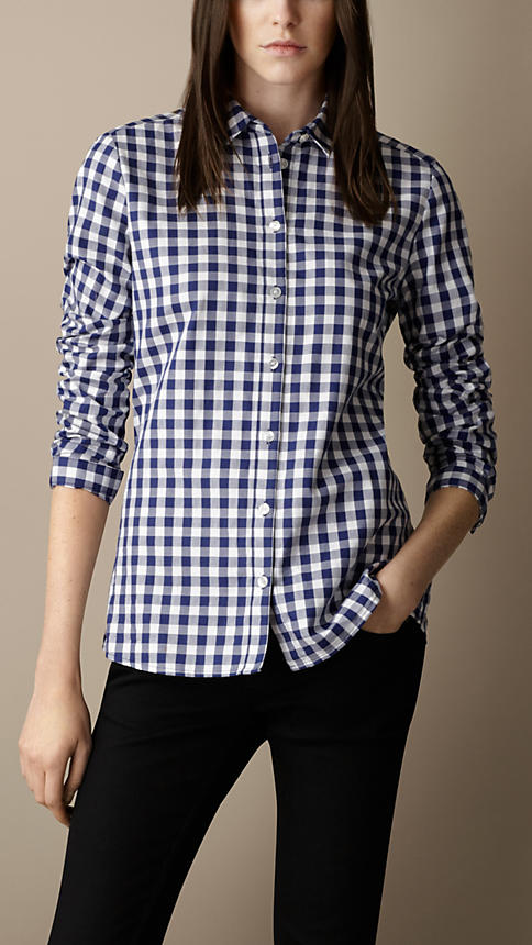 Burberry - Lapis Blue Cotton Gingham Shirt