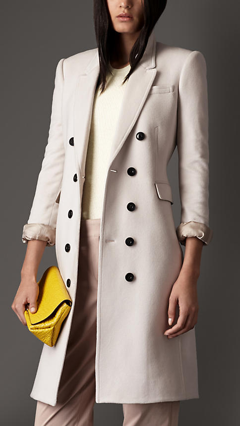 Burberry - Satin Detail Cashmere Chesterfield Pale Trench
