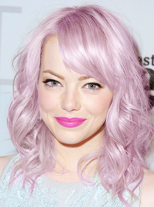 (Emma Stone with Lavender Pink hair)