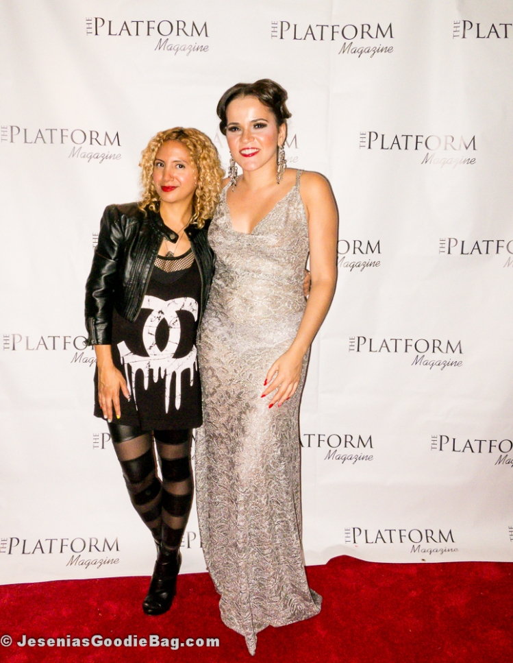 Jesenia (JGB Editor) with Olga Maria Czarkowski (DIHPR) (Olga Maria is wearing: Ferret Campos Designs/ Hair & Makeup: International Hair Studio NY)