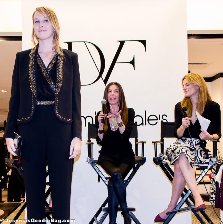 Alyona Embelllished Shawl Collar Jacket, Caroline Embellished Jumpsuit (DVF)