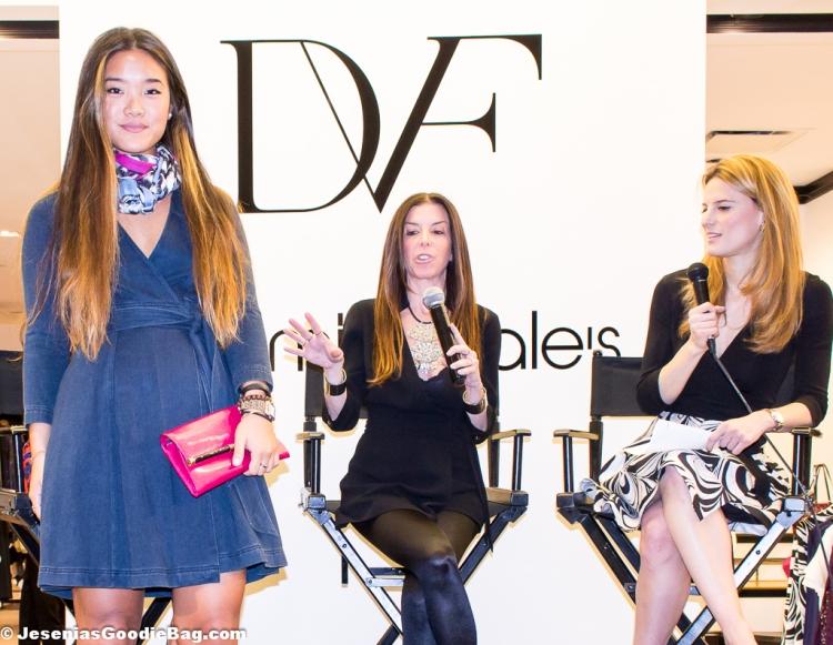 Christa Denim Wrap Dress, Poppy Leopard Hanovar Scarf, 440 Envelope Leather Clutch (DVF)